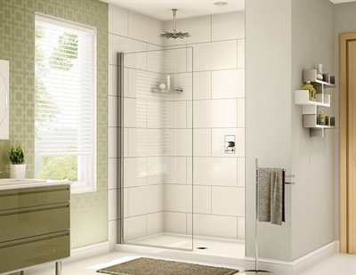 Siena Solo Pivot shower panel, 1/4 (6 mm) glass, 75 H