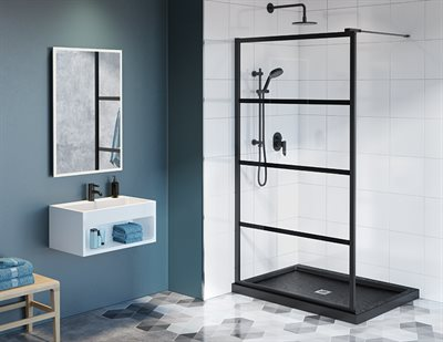 Latitude Fixed shower panel, 5/16 (8 mm) glass, 79 H (79 3/4 to top os support bar)