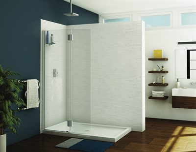 Monaco Square top shower shield with fixed panel, 3/8 (10 mm), 79 H (80 1/2 with support bar)