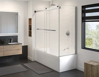 *COMING SOON* Gemini Plus 2 sided tub enclosure, 3/8 (10 mm) glass, 66 H