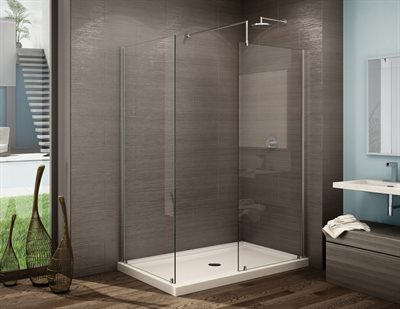 Petra V Shower panels, 3/8 (10 mm) glass, 79 H (86 3/16 to top of support bar)