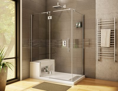 Lexus 2 Sided, door & panel with return panel, glass to glass hinges; for Alessa shower base with seat, 80 1/2 H