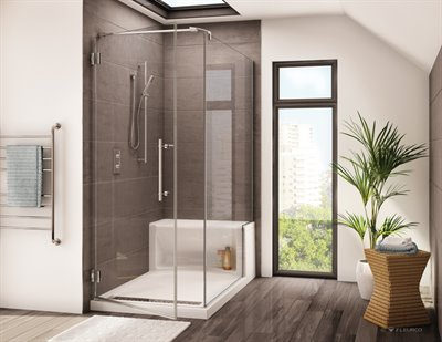 Platinum Cube Shower door with return panel, for Alessa shower base with seat, 80 1/2 H