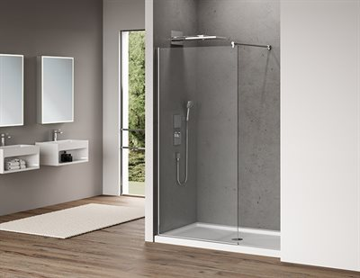 Station Plus Fixed shower panel, 3/8 (10 mm) glass, 79 H