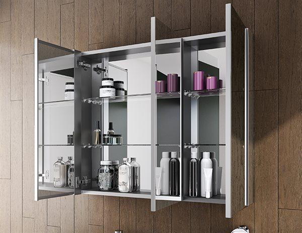 Fleurco Luna Medicine Cabinets Tri View Flat Edge