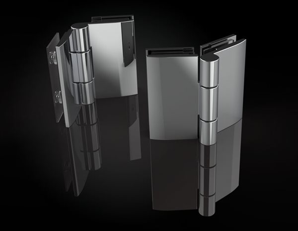 Square glass-to-glass hinges