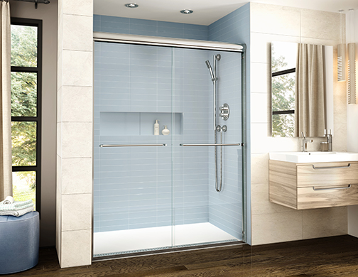 K2 2 Sided sliding shower door with Bella seated base