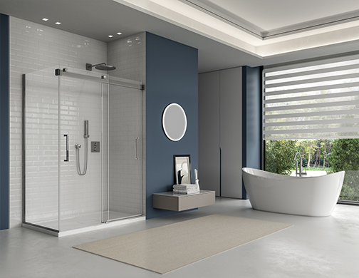 latitude pivot inline, with waltz petite tub, veritas mod towel bar and luna halo mirror